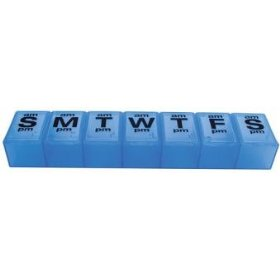 Apex 7 day xxl twice a day weekly pill organizer - translucent blue