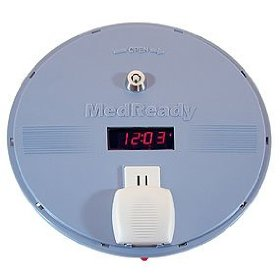 Medready automatic medication dispenser with flashing light and low frequency alarm