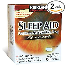 Kirkland signature nighttime sleep aid (doxylamine succinate 25 mg), 96-count tablets (pack of 2)