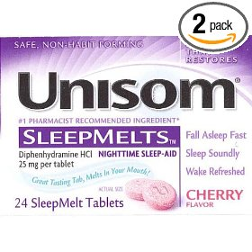 Unisom sleepmelt tablets, cherry, 24-count (pack of 2)