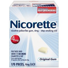 Nicorette gum, 4 mg, 170 pieces (original flavor)