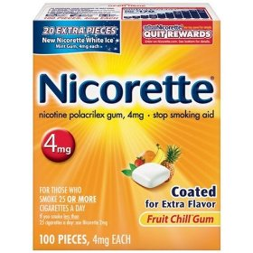 Nicorette nicotine polacrilex gum, 4 mg, fruit chill, 100-count box
