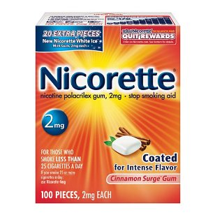 Nicorette cinnamon surge 100ct 2mg, 0.46 packages