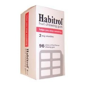(4) habitrol nicotine gum 4 boxes fruit flavour 2mg - 96 pieces in each box
