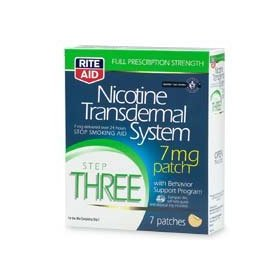 Rite aid nicotine transdermal system, step three, 7 mg patch 7 ea