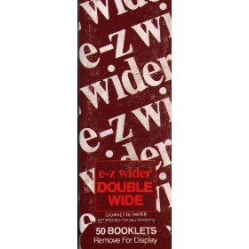 E-z wider double wide rolling papers retail box ez wider - 50 booklets per box and each booklets has 32 leaves - 1600 total leaves/sheets/papers