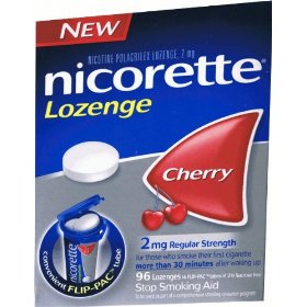 New nicorette nicotine lozenges 2mg cherry flavor bonus pak 96 ea (33% more than 72) commit to quit 72 + 24 bonus = 96 lozenges