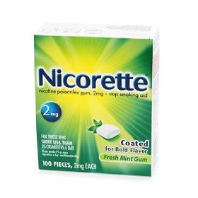 Nicorette fresh mint 2mg coated gum 100 pieces stop smoking aid