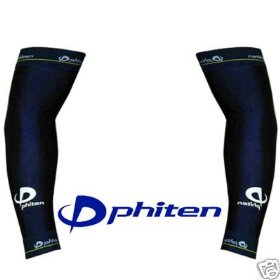 Phiten titanium power sleeve (pair), color: navy, size-large(upper 11.2