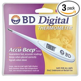 Bd digital thermometers (pack of 3)